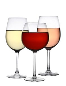B5X393 Glasses of red white and rose wine cutout isolated on white background